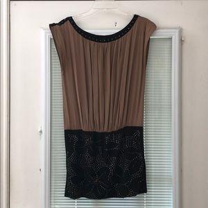 Nude and studded mini dress